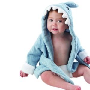 """Baby Aspen """"Let the Fin Begin"""" Blue Terry Shark Robe, 0-9 Months"""