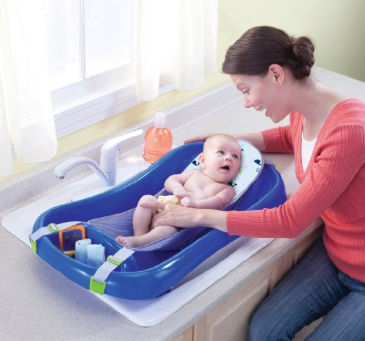 The First Years Infant To Toddler Tub with Sling, Blue
