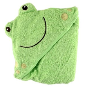 Luvable Friends Animal Face Hooded Woven Terry Baby Towel Frog