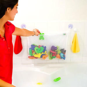 Simple Sprouts Large Two Pocket Mold-Resistant Bath Toy Organizer With Suction Cups