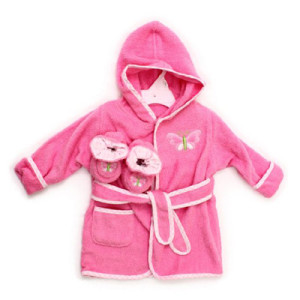 Spasilk 100% Cotton Hooded Terry Bathrobe with Booties, Pink Butterfly