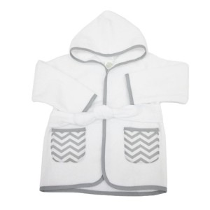 American Baby Company 0-9 Months 100% Organic Cotton Baby Bathrobe, White/Gray