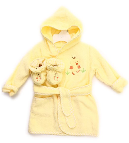 Spasilk 100% Cotton Hooded Terry Bathrobe with Booties, Yellow Duck